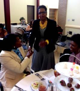 Carolyn J Hudson Greeting Guests